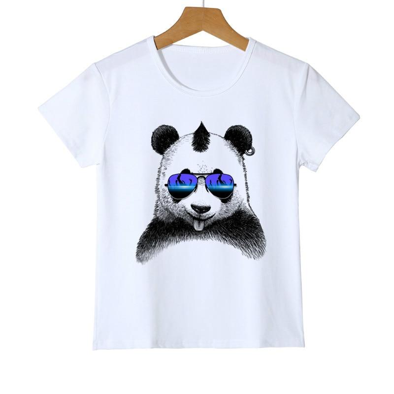 Модные клевые солнцезащитные очки в стиле Харадзюку Детская футболка с принтом панды Одежда для девочек Футболка с рисунком панды Z42-6