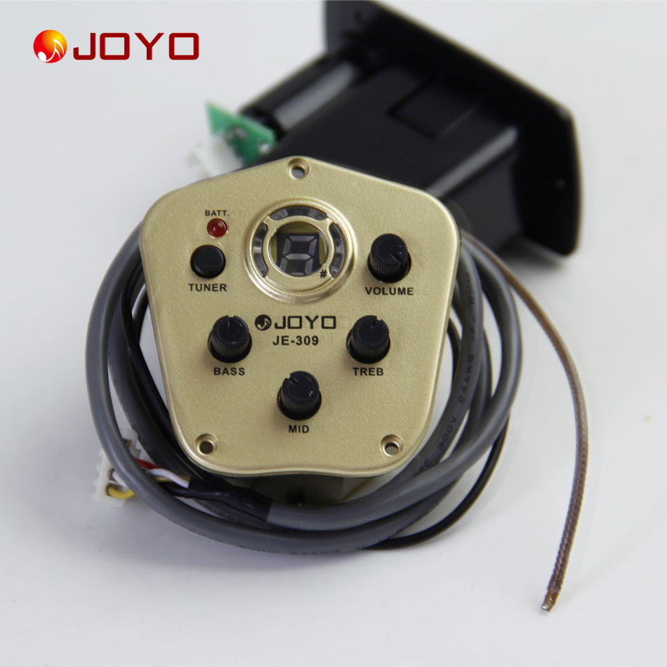 New Joyo JE-309 Pickup For Guitar3 Band EQ with Tuner guitar accessories guitar pick holder joyo eq 307 folk guitarra 5 band eq acoutsic guitar equalizer high sensibility presence adjustable with phase effect and tuner