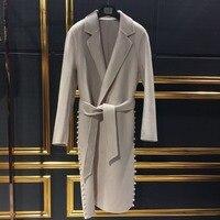 Arlene sain/женское перламутровое однотонное кашемировое пальто высокого качества, Женское пальто с натуральным мехом, бесплатная доставка, 024
