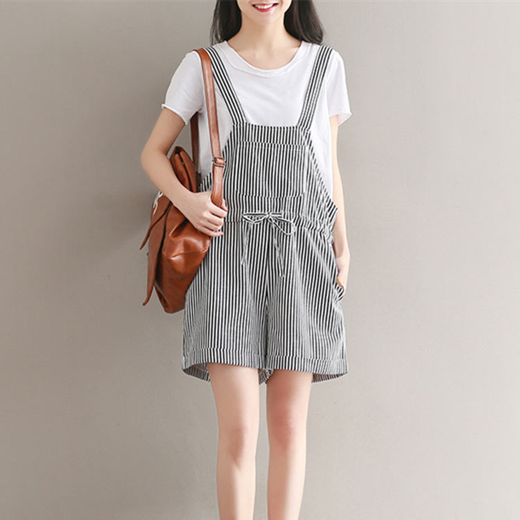 Casual Stripe Overalls Pants Women Shorts Harem Pants Drawstring Casual Loose Full Striped Overalls Pants Female Short Trousers