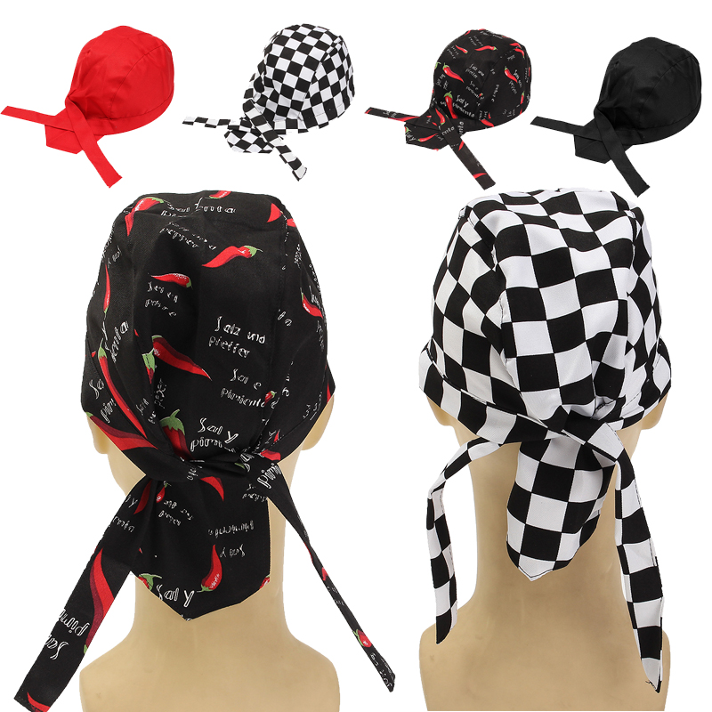 Pirate Chef Hat Unisex Cooking Cap Working Cloth Plaid Striped Plain Caps Restaurant Waitress Hats Skull Lace-up Knot   Beanies