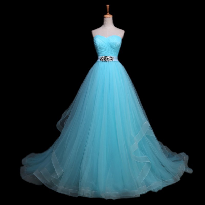 Elegant Crystal Beaded Sashes Vestido De Noiva Light Blue Wedding Gown Designer Princess Dress 2017 Robe Princesse In Dresses From