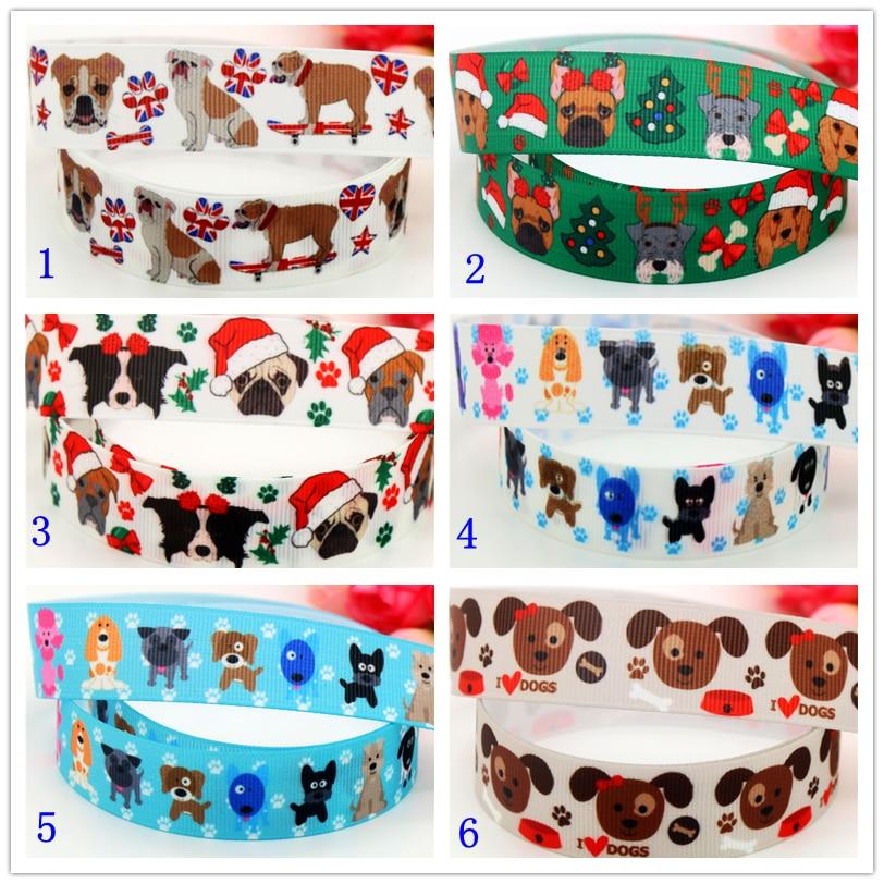 7/8 Free shipping bulldog dog christmas printed grosgrain ribbon hairbow headwear party decoration diy wholesale 22mm D571
