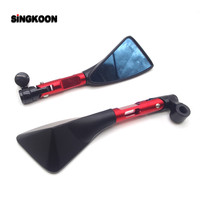8 10mm universal cnc motorcycle mirrors Blue Lens Rearview cafe racer Side Mirror FOR honda shadow vt750 africa twin crf1000l
