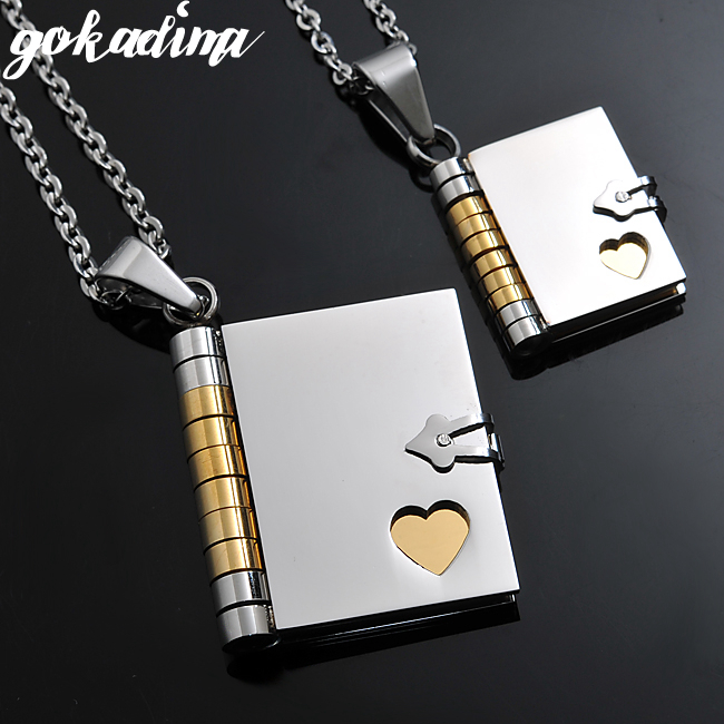 "2019, ""Surat cinta"" Buku Liontin COUPLE NECKLACES, Korea Stainless Steel Pecinta Perhiasan Hadiah natal Grosir WP264"