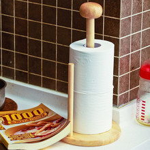 Rubber Wood Paper Towel Holder Kitchen Tissue Holder Household Roll Paper Stand Kitchen Tool