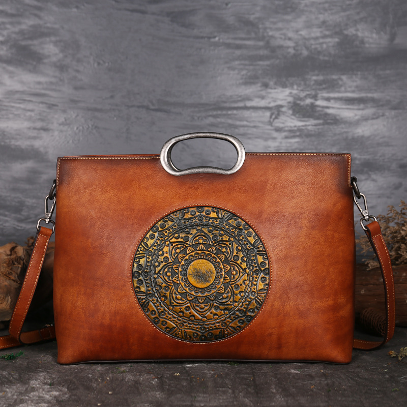 Leder Tragetaschen Retro Top Natürliche Muster Frauen Tasche Handtasche Qualität Haut Griff Messenger Schulter Echte Hohe Geprägtem Totem 7qTwRx