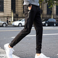 Black Harem Fitness Long Pants Men Casual Sweatpants Baggy Trousers Fashion Fitted Pocket leather Patchwork streetwear
