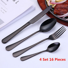 Spoon Tableware Dinnerware-Set Cutlery-Set Knife-Fork Black 16pcs 304-Stainless-Steel