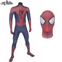 Ling Bultez 3D Logo Spider Man Costume Fullbody Spandex Lycra Suit Amazing Spiderman Costume Adult Any Size With 3D Spiders