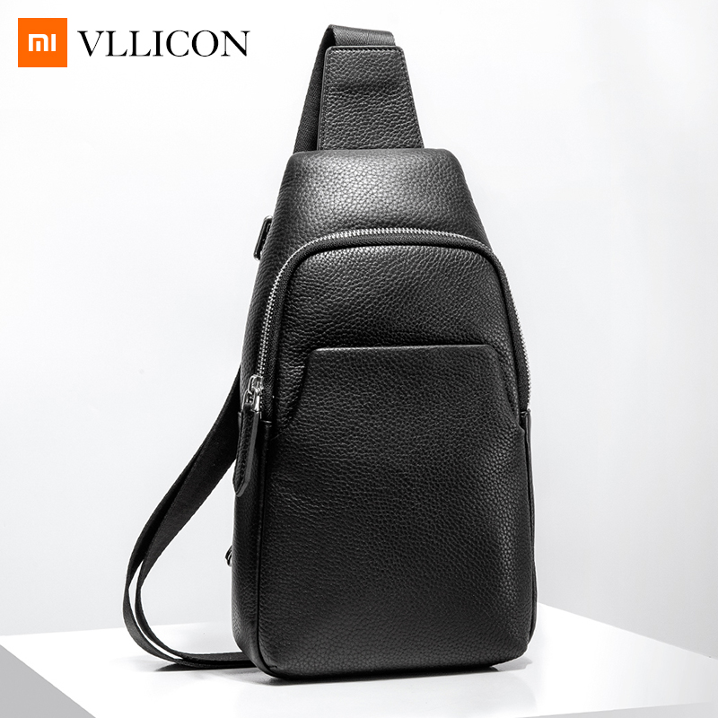 Xiaomi Mijia Youpin Fashion VLLICON Casual Men's Suede Leather Chest Bag Shoulder Bag 190*80*320mm-in Bags from Consumer Electronics