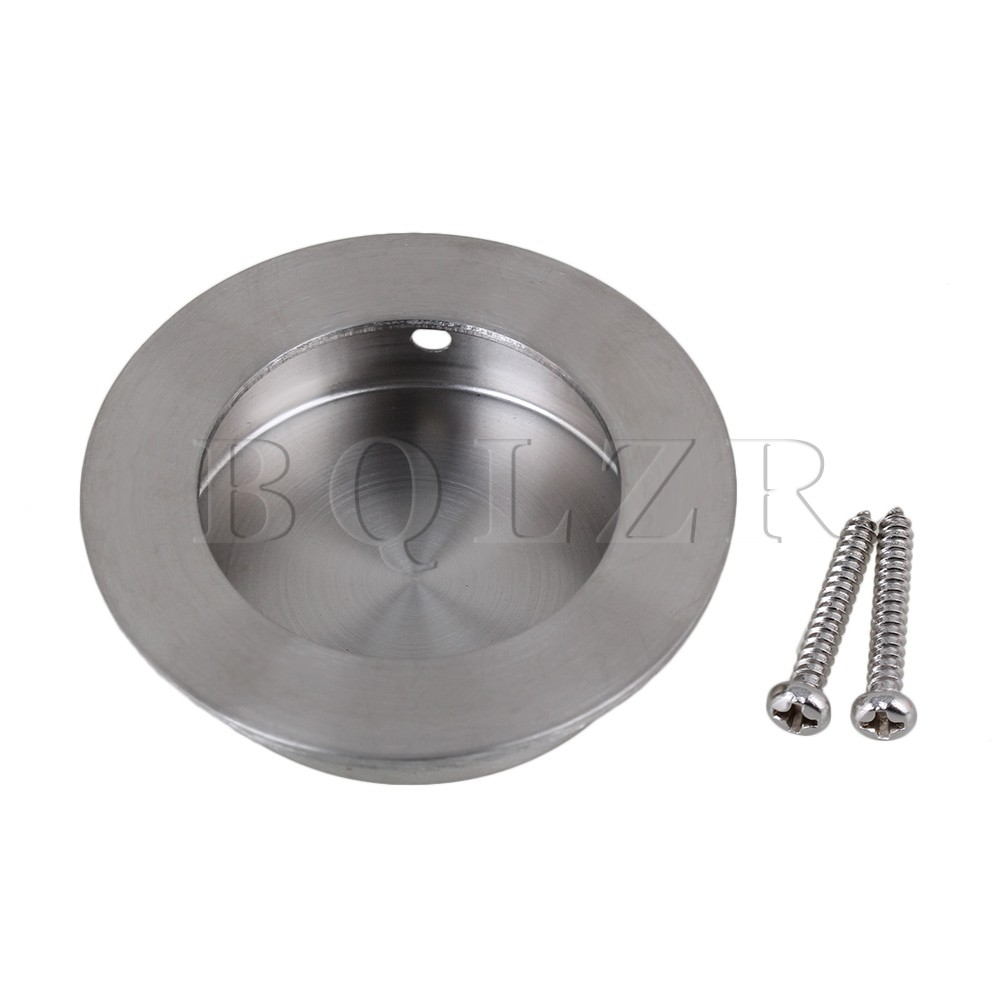 BQLZR Silver Stainless Steel Drawer Closet Cabinet Door Recessed Knob Handle 50mm OD mini stainless steel handle cuticle fork silver