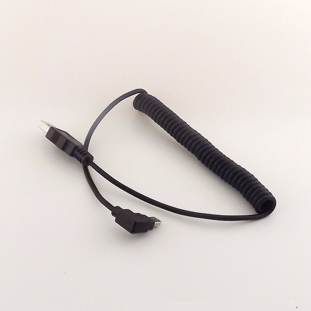1pcs Spiral Coiled USB 2.0 A Male to Mini USB 5 Pin Male Left Angle Adapter Cable 5FT