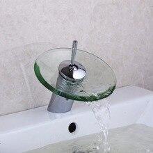 RU наличии БЕСПЛАТНАЯ ДОСТАВКА Бесплатная доставка для ванной стекло кран площадь латунь высокое качество бассейна Водопад смеситель бортике Водопад