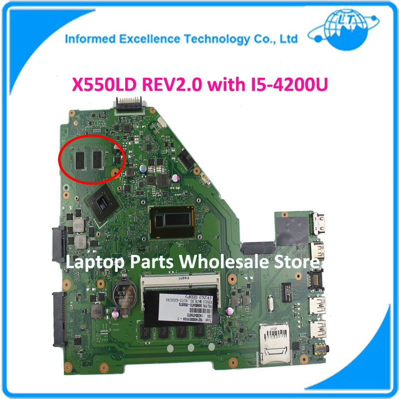 FOR ASUS X550LD Laptop Motherboard REV2.0 with I5-4200U PM Mainboard 90NB04T0-R00070 Non-integrated Notebook Fully Tested Mobo