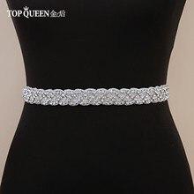 TOPQUEEN-correa de diamantes de imitación S216 para mujer, cinturón hecho a mano para vestidos de boda, cinturón nupcial, cinturón de boda para novia, banda para fiesta