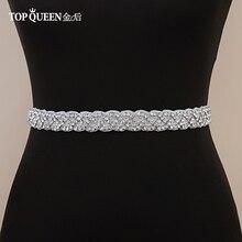 Cinturón de boda hecho a mano TOPQUEEN S216 con diamantes de imitación para mujer, accesorios para cinturón de boda, fajas nupciales para boda, disponible en cualquier tamaño