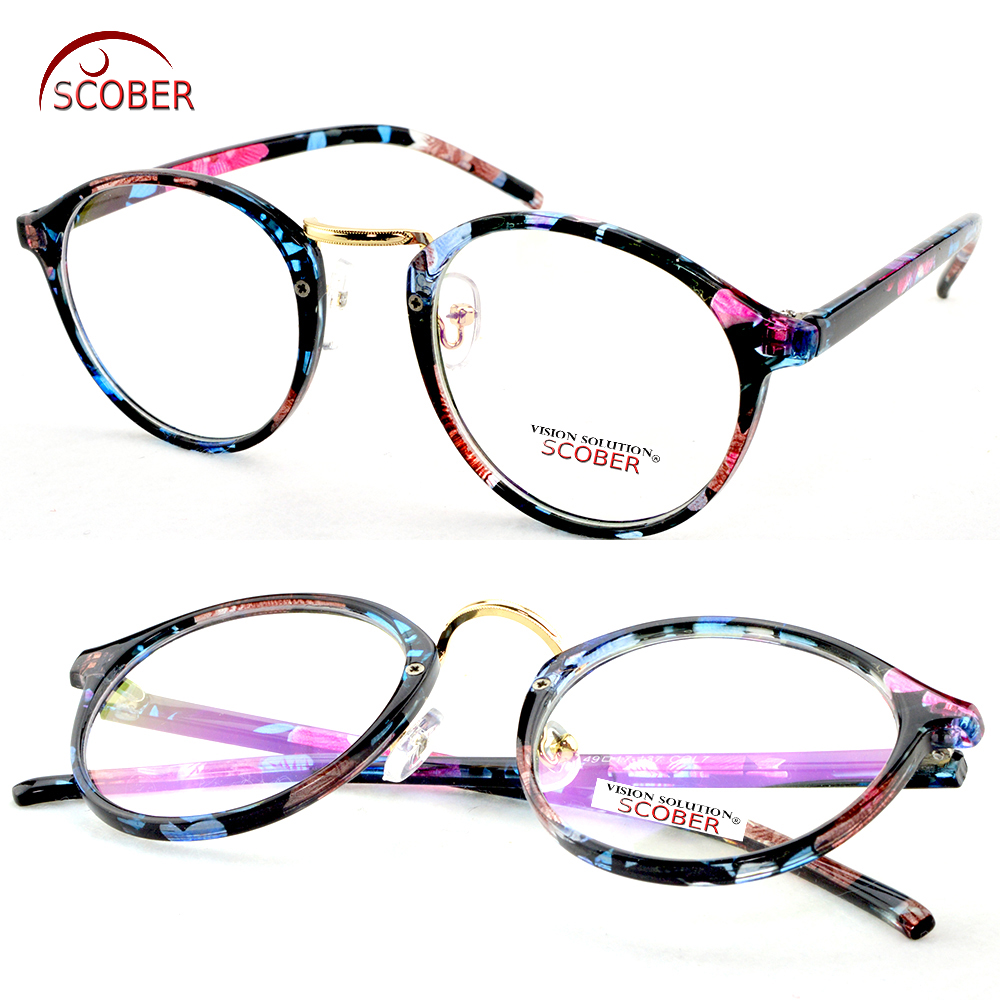3f999628ec Best buy Photochromic Reading Glasses Vintage Classic Round Women Blue  flower Spectacles +1 +1.5 +2 to +4.0 Progressive Or Polarized Lens online  cheap