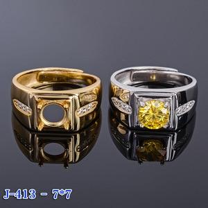 Image 5 - MeiBaPJ 7mm Natürliche Citrine Runde Edelstein Mode Ring/Leere Unterstützung für Männer Echt 925 Sterling Silber Feine Charme schmuck