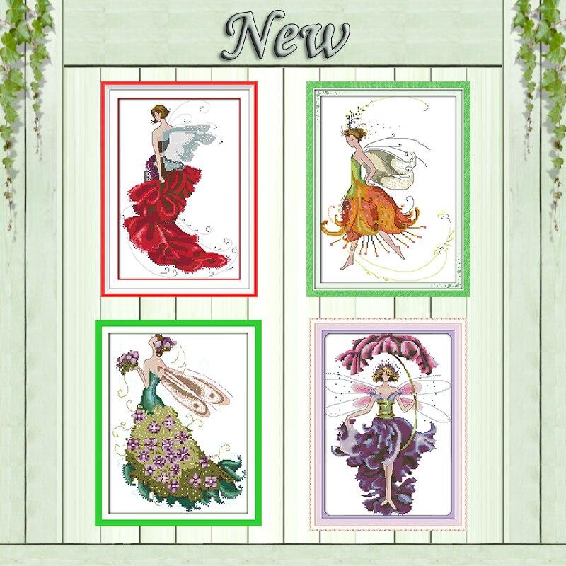 Flower fairy engel schönheit mädchen diy malerei auf leinwand Gedruckt Gezählt DMC 11CT 14CT Kreuzstich kits Handsets stickerei