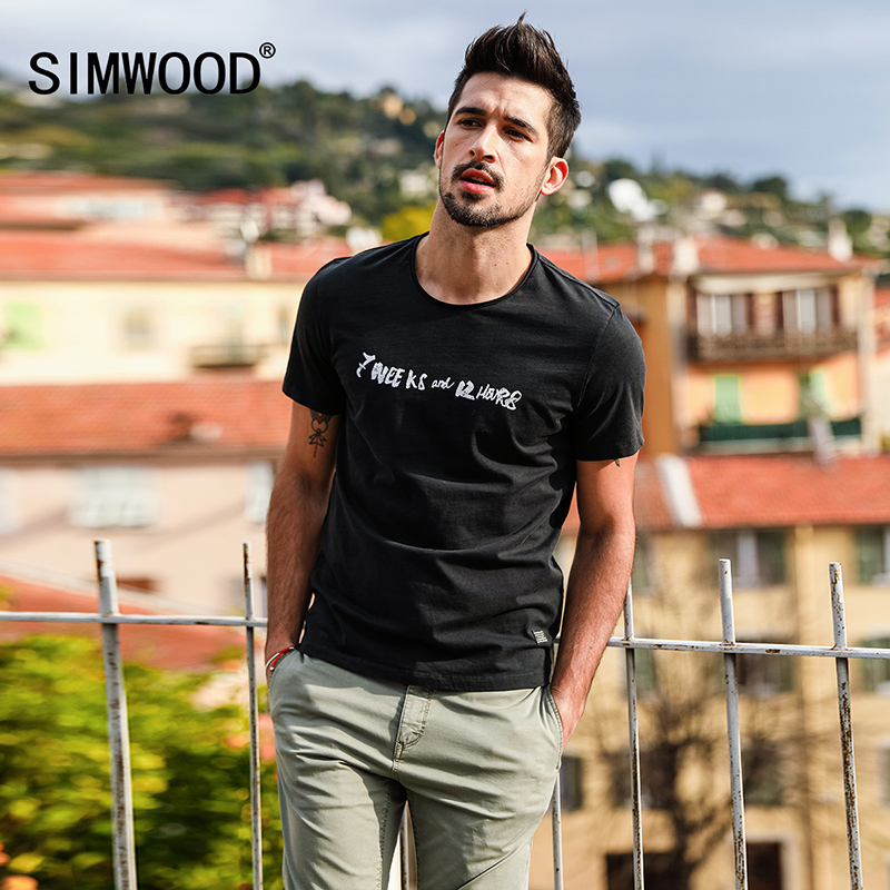 SIMWOOD 2018 Summer New Fashion T Shirt Men 100% Pure Cotton Slim Fit Plus Size Letter Print Tops Tees Brand Clothing 180020 полка new brand 3pcs 20 30 slim fit ts079