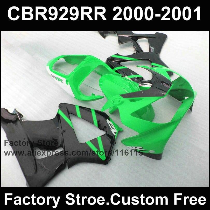 Custom Motorcycle fairing kit for HONDA CBR 929 fairings 2000 2001 CBR900RR fireblade green black parts