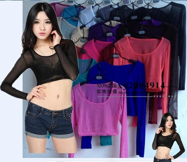 20 Cores Verão Mulheres Sexy Malha Sheer camiseta Topo Colheita Partes Superiores Das Senhoras Sob A camisa transparente Sexy Base de Camisa Camiseta Femme
