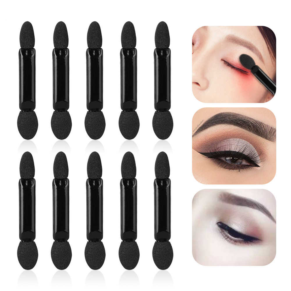 10 stuks Dubbele Kop Spons Oogschaduw Eyeliner Borstel Zwart & Wit Applicator Beauty Make-Up Tools Foundation Make-Up Kwasten tool Set