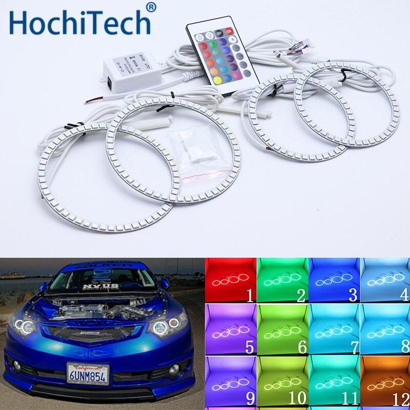Pour Acura TSX 2009 2010 2011 2012 Kit yeux d'ange Led multicolore anneaux Halo RGB feux de jour DRL