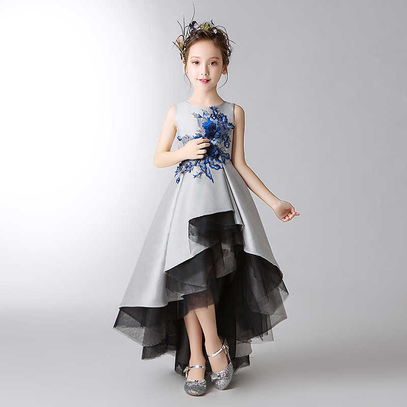 9f4ac1ff120 ... Elegant Kids Wedding Dress Silver Tulle Flower Girls Dress Sequin  Pageant Party Ball Gown Girl Prom ...