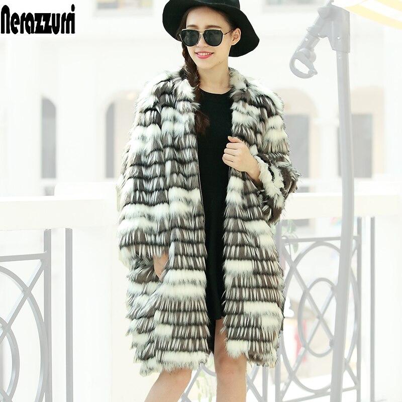 Nerazzurri 2017 Women Winter Faux Fur Coat Loose Fluffy Elegant Female Ladies Synthetic Fox Fur Jacket Outwear Plus size S-6XL