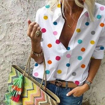 Women V-neck Long Sleeve Shirt Casual Polka Dot Print Blouse Autumn V-neck Plus Size Blouses Shirts ethnic plunging neck long sleeve print blouse for women
