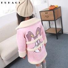 Fashion Winter Girls Jackets Coats Cartoon Rabbit Children Clothing Kids Long Coat Warm Autumn Outerwear Clothes N38562