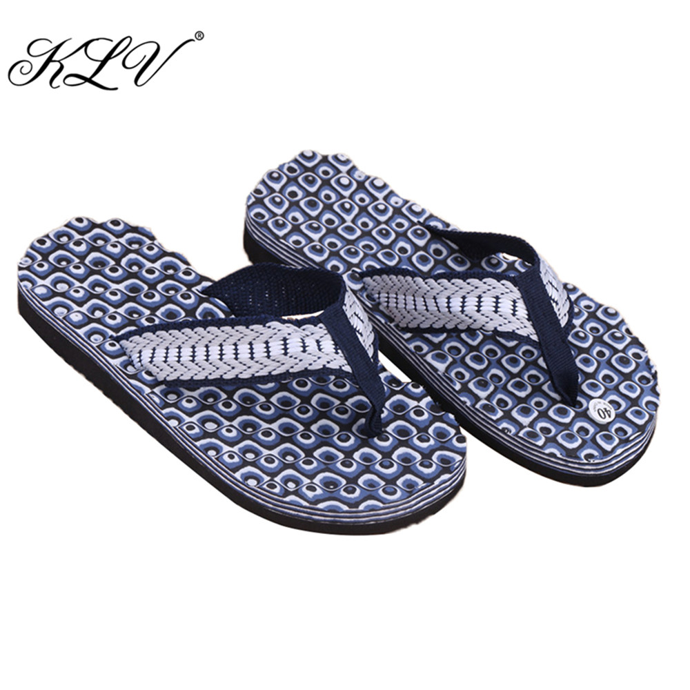 KLV Summer Soft Casual Men Flat Wedge Sandals Thong Flip Flops Slippers Beach free shipping 2016 summer diamond woman sandals casual flat thong flip flops fashion beads wild sandals white black st338