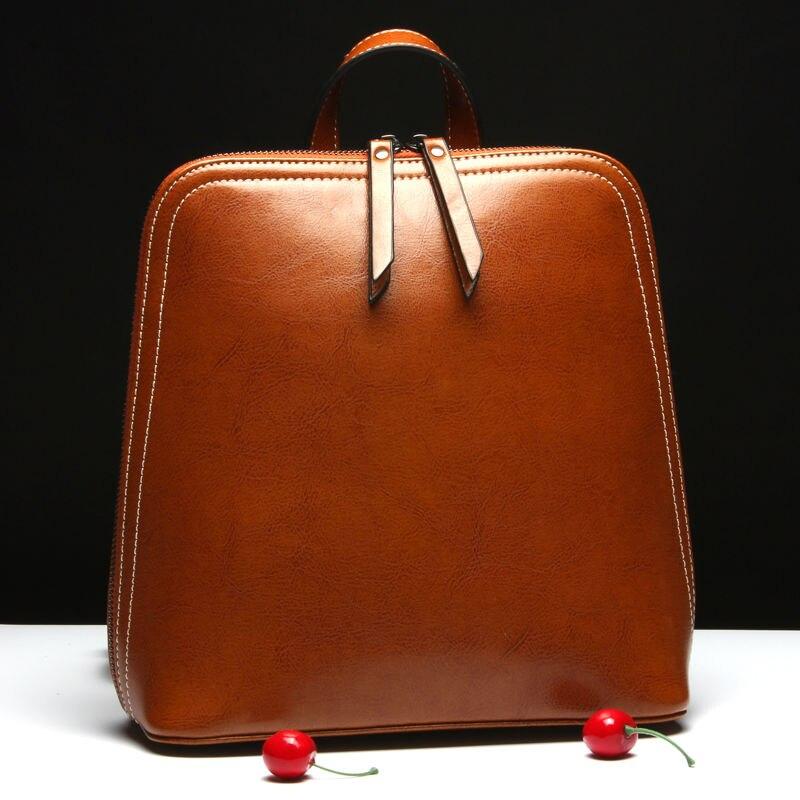 Maihui ladies women genuine leather school bags for teenage girls new travel female teen vintage schoolbag backpack laptop bag