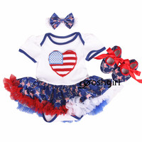 4th July America Flag LOVE White Happy Fourth of July USA Flag 1ST Birthday Party Bebe Romper Star Girl Baby Dress Outfit NB 18M