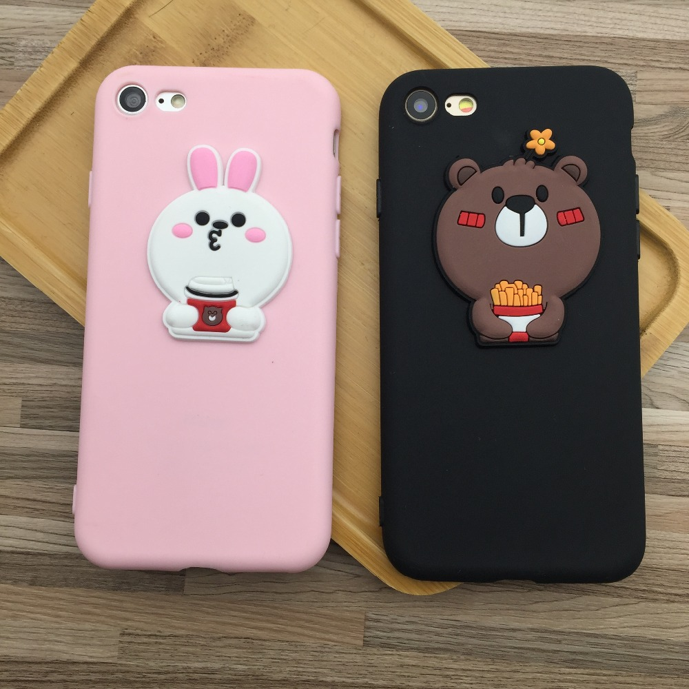 Cute Cartoon Bear Pink Rabbit Girly Phone Case For iPhone 6 6S Plus Silicone Rubber TPU Phone