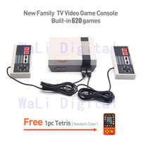 Free shipping Family Video Game Console Built-in 620 Games with AV Cable Classic Family Tv Games Player Two Game Controller