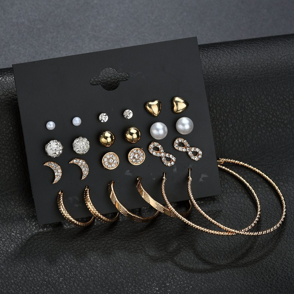 New Fashion Gold Star Moon Shape Earrings Simple Ear Ring Ethnic Jewelry Gift Crystal Round Geometric Earrings For Women
