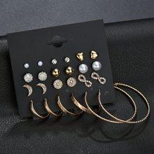 цена на New Fashion Gold Star Moon Shape Earrings Simple Ear Ring Ethnic Jewelry Gift Crystal Round Geometric Earrings for Women
