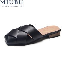 MIUBU Flat Shoes Women Slippers House Designer Slides Loafers Mules Fashion Summer Sandals