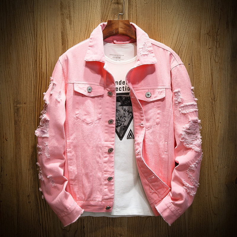 Denim Jacket Men Ripped Holes Mens Pink Jean Jackets New 2019 Garment Washed Mens Denim Coat Denim Jacket Men Ripped Holes Mens Pink Jean Jackets New 2019 Garment Washed Mens Denim Coat Designer Clothes