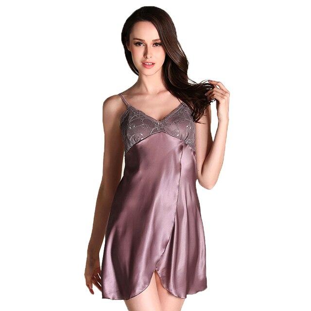 c13a0f348 Lace satin silk nightgown Women Sleepdress Nighties Sleepwear Slits Pants  Nightwear Ladies Night Wear pijama nuisette