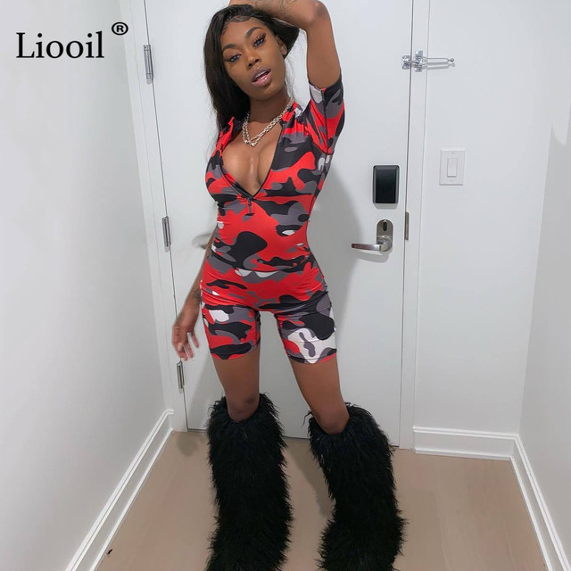Liooil Red Camouflage Bodycon Playsuit 2019 Sexy One Piece Jumpsuits Women Club Wear Zip Up Romper Party Tight Jumpsuit Shorts 3