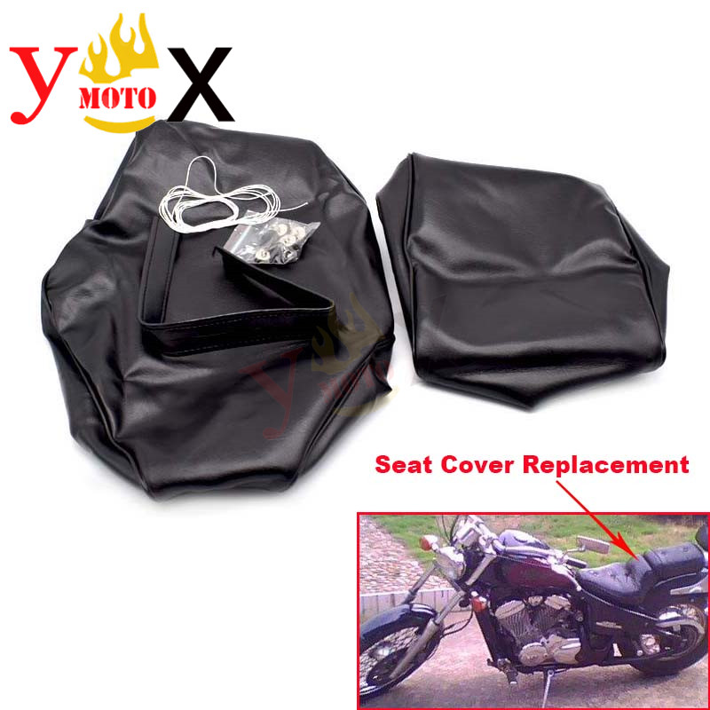 Black PU Leather Motorcycle Seat Cover Cushion Guard Protection Waterproof Replacement Repair For Honda Steed 400 VLX400
