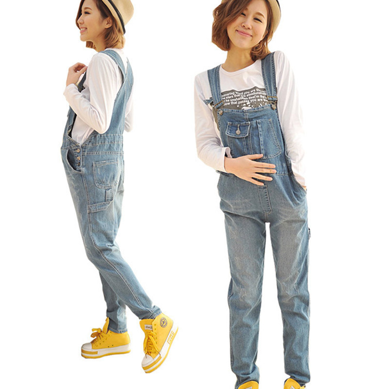 Maternity Pants Jumpsuit Light Blue Denim Plus Size Overalls Pregnant Jeans For Pregnant WomenSuspender Trousers sokotoo men s plus size light blue ripped denim slim fit bib overalls casual holes distressed jumpsuits jeans pants