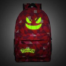 Men's Backpack Pokemon Gengar Backpack Galaxy Luminous Printing Backpack Animation Backpack School Bag Teenagers Mochila Escolar