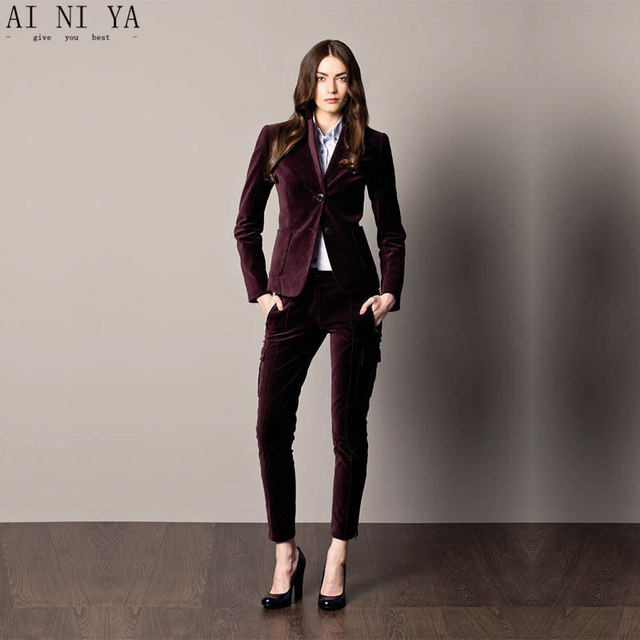 18595cbe713 New Fashion Grape Women Tuxedos Shawl Lapel Suit For Women Two Button  Business Womens Velvet Suits