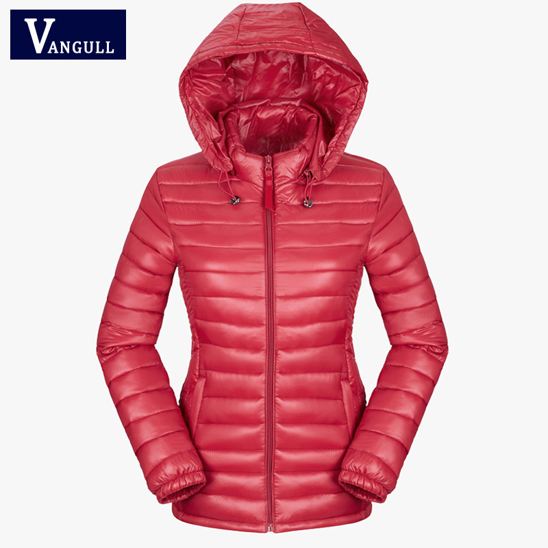 women winter autumn basic jacket 2017 black red solid slim thin hooded coat light cotton plus size 3XL feminina Warm   Parkas