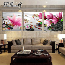FULLCANG diy triptych diamond painting orchid and stone 3 pieces 5d cross stitch diamant embroidery full square drill G1332